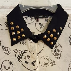 Dex 1963 Skull Print 123278D Button Down Collar M